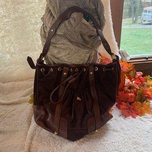 💯Burberry Brown Suede Shoulder Bag